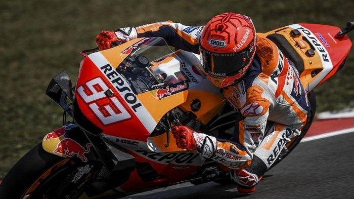 Marc Marquez saat sesi latihan bebas pada MotoGP Portugal 2021.  (AFP/ PATRICIA DE MELO MOREIRA)