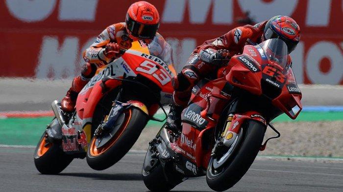 Siaran Langsung MotoGP Aragon 2021 Trans7, Marc Marquez dan Bagnaia di Depan, Quartararo Kesulitan