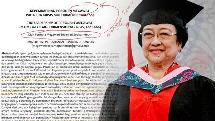 Jurnal ilmiah Megawati beredar viral di Twitter, Bos PDIP dianggap tak layak dapat gelar profesor kehormatan dari Unhan. (Kolase TribunKaltara.com / Twitter @sociotalker dan Instagram @unhan_ri)