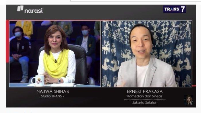 Najwa Shihab, host Mata Najwa - Ernest Prakasa. Ketua Umum PDIP, Megawati Soekarnoputri singgung milenial, Ernest Prakasa di Mata Najwa, Narasi TV beri jawaban mungkin terlalu bersemangat hingga lupa. Tangkap layar YouTube Najwa Shihab