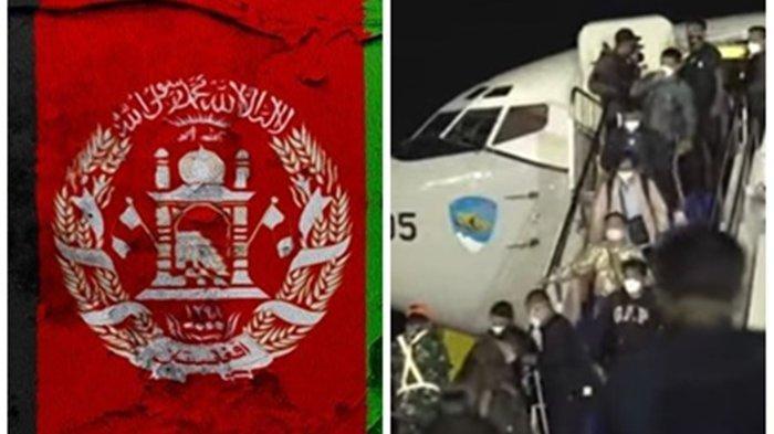 Ilustrasi - Bendera Afghanistan dan Warga negara Indonesia yang dievakuasi dari Afghanistan tiba di Bandara Halim Perdanakusuma, Sabtu (21/8/2021) dini hari. (Freepik/YouTube.com/MoFA Indonesia)