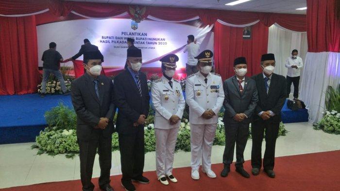Gubernur Kaltara Zainal Paliwang bersama Bupati dan Wakil Bupati Nunukan periode 2021-2024 Asmin Laura-Hanafiah usai proses pelantikan di Gedung Gadis Pemproc Kaltara, Rabu (2/6/2021).