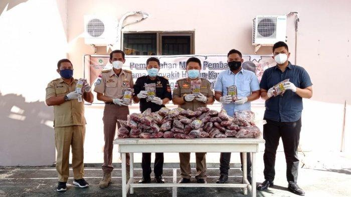 Perdana di Tahun 2021, BKP Tarakan Musnahkan 1,9 Ton Daging Alana Ilegal Asal Malaysia
