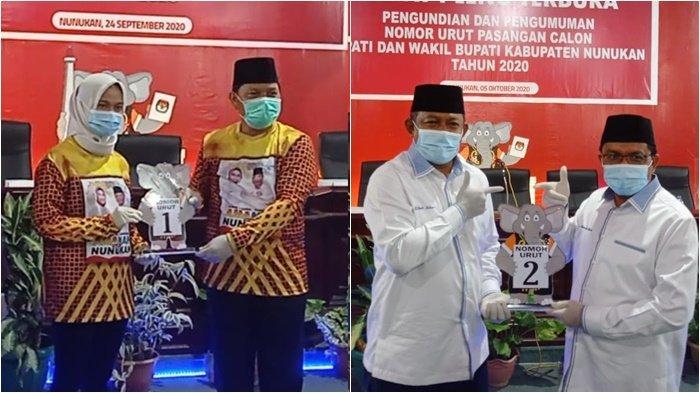 Pasangan calon bupati-wakil bupati di Pilkada Nunukan 2020, Asmin Laura-Hanafiah dan Dani Iskandar-Muhammad Nasir. (TribunKaltara.com / Febrianus Felis)