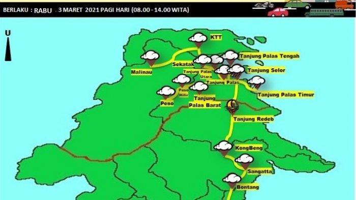 Prakiraan Cuaca Bulungan, BMKG Prediksi Hampir Semua Wilayah Potensi Diguyur Hujan pada Malam Hari