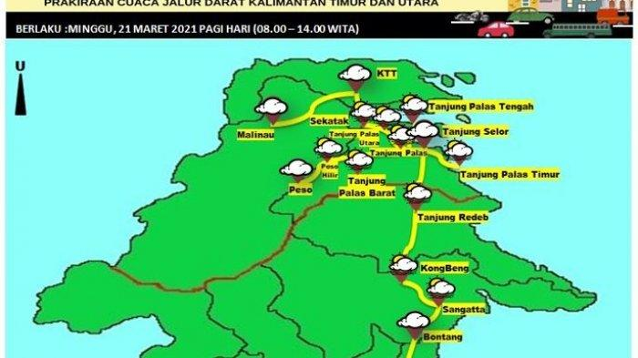 Prakiraan Cuaca di Bulungan Minggu 21 Maret 2021, BMKG Prediksi Hujan Ringan Terjadi pada Malam Hari