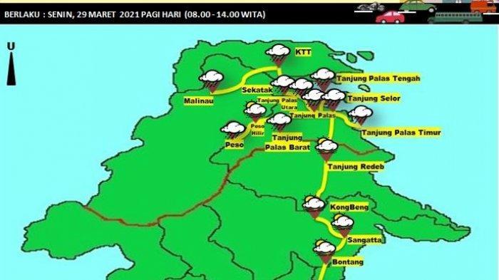 Waspada Cuaca Ekstrem, BMKG Prediksi 2 Wilayah Bulungan Diguyur Hujan Disertai Petir & Angin Kencang