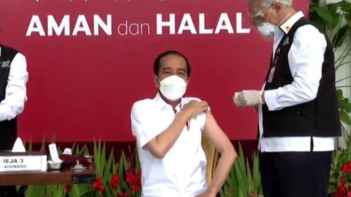 Presiden Jokowi disuntik vaksin corona Sinovac di Istana Negara, Rabu (13/01/2021) (Tangkapan Layar YouTube Sekretariat Presiden)