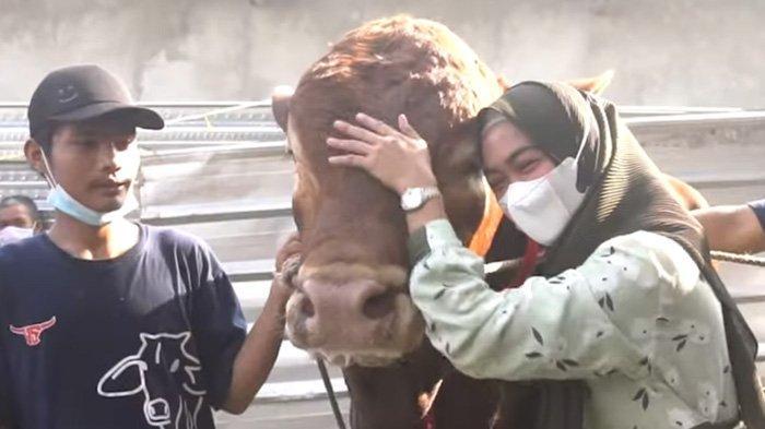 Ria Ricis ikut memotong sapi miliknya saat Hari Raya Idul Adha 1442 H, di pesantren milik Oki Setiana Dewi. Selasa (20/7/2021). (YouTube / Ricis Official)