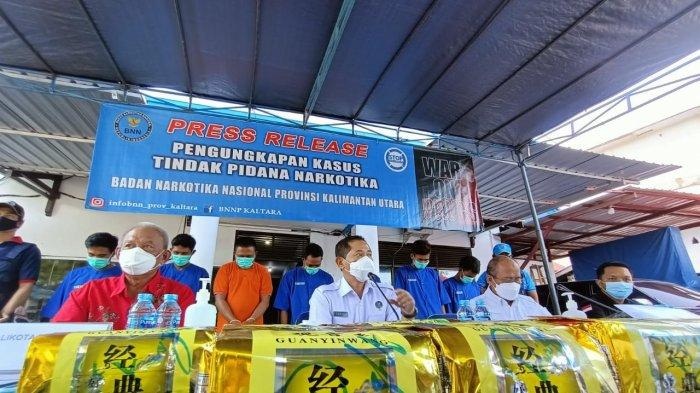 Rilis pengungkapan narkotika jenis sabu sebesar 20 kg, Rabu (26/5/2021). TRIBUNKALTARA.COM/ANDI PAUSIAH