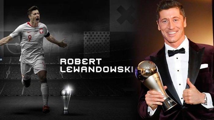 Robert Lewandowski resmi meraih penghargaan Pemain Terbaik Dunia 2020. (Kolase TribunKaltara.com / @FIFAcom dan @FCBayernEN)