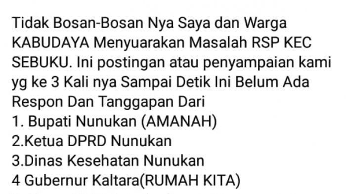 Foto hasil tangkapan layar Hp yang dibagikan oleh pemilik akun Facebook @Sultan Kelapa Sawit di grup Rumah Aspirasi Nunukan, satu hari lalu.