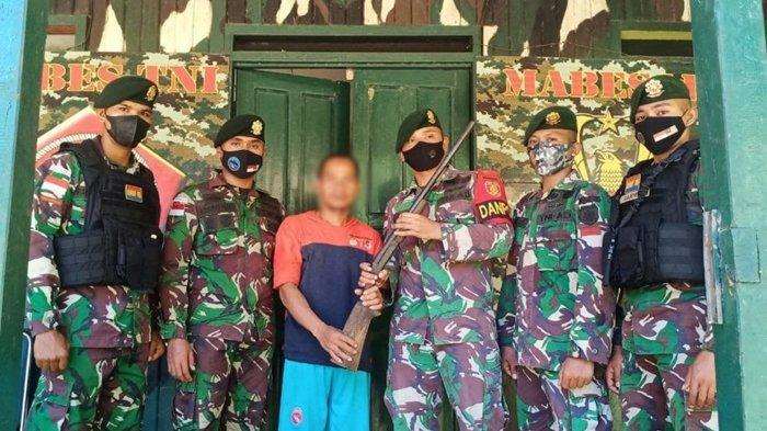 TNI Penjaga Perbatasan RI-Malaysia Amankan Satu Pucuk Senjata Api Rakitan Milik Warga Nunukan