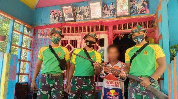 Satgas Pamtas Yonarhanud 16/SBC Berhasil Amankan Senpi Rakitan Jenis Penabur Milik Warga Perbatasan