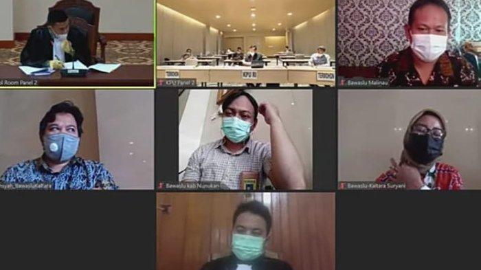 Sidang sengketa Pilkada Kabupaten Nunukan 2020 di Mahkamah Konstitusi, Kamis (28/01/2021), lalu. (Tangkapan layar di chanel YouTube Mahkamah Konstitusi RI).
