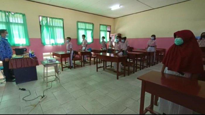 Simulasi pembelajaran tatap muka di SD Negeri 043 Tarakan, Rabu (17/3/2021)