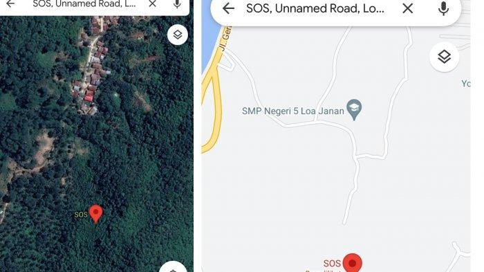 Tangkapan layar Google Maps dengan tanda SOS di kawasan Loa Ranten Gang Adonara, Kecamatan Loa Janan, Kabupaten Kutai Kartanegara tak jauh dari Kota Samarinda, Kalimantan Timur, Minggu (30/5/2021).