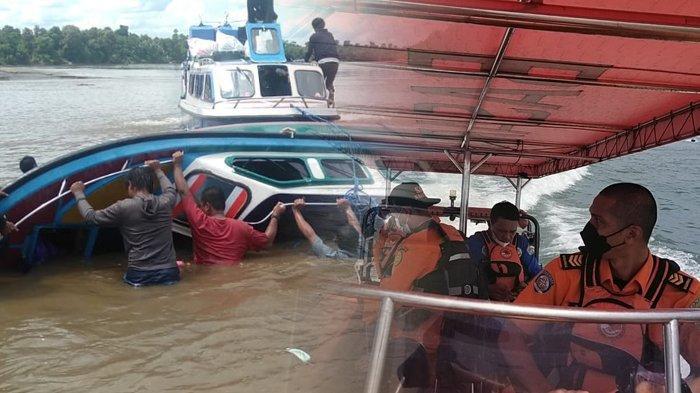 SAR Tarakan berupaya mencari korban kecelakaan speedboat SB Ryan di Sembakung, Nunukan, Kalimantan Utara, Senin (7/6/2021). (Kolase TribunKaltara.com / HO/SAR TARAKAN)