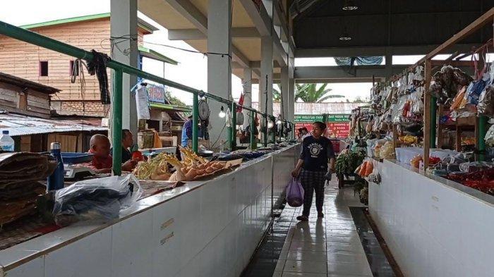 Suasana Pasar Induk Imbayut Taka di Kabupaten Tana Tidung, Kalimantan Utara.