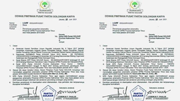 Beredar Surat Persetujuan Penggantian Ketua DPRD Kaltim dari DPP Partai Golkar, Makmur Dicopot?