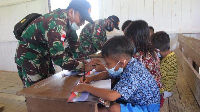Kiprah Prajurit TNI di Perbatasan, Mengajar Murid SD di Malinau Barat Menghadapi Ujian Sekolah