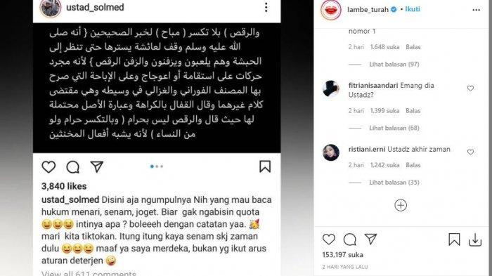 Unggahan Ustaz Solmed menanggapi video viral istrinya, April Jasmine saat joget TikTok