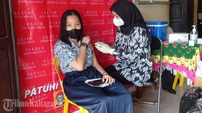 Vaksinasi peserta didik di satuan pendidikan wilayah Kecamatan Malinau Kota, Kabupaten Malinau, Provinsi Kalimantan Utara, beberapa hari lalu. (TribunKaltara.com / Mohammad Supri)