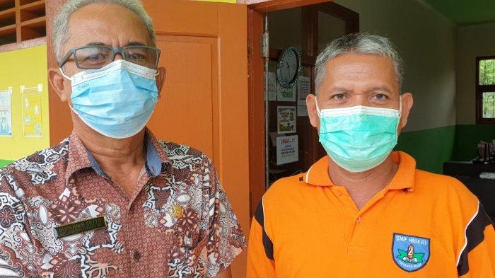 Kiri ke kanan Suparmin Setto, Tim Pencegahan Covid di DisdikBud Bulungan dan Kepala Sekolah SMP Negeri 2 Tanjung Selor.