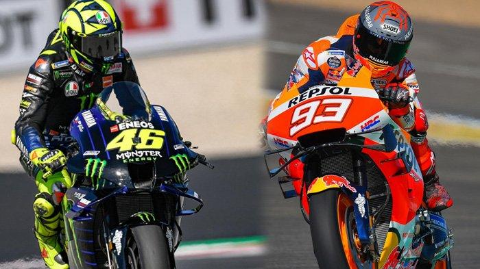 Dua Pebalap MotoGP, Valentino Rossi dan Marc Marquez (Kolase TribunKaltara.com / motogp.com)