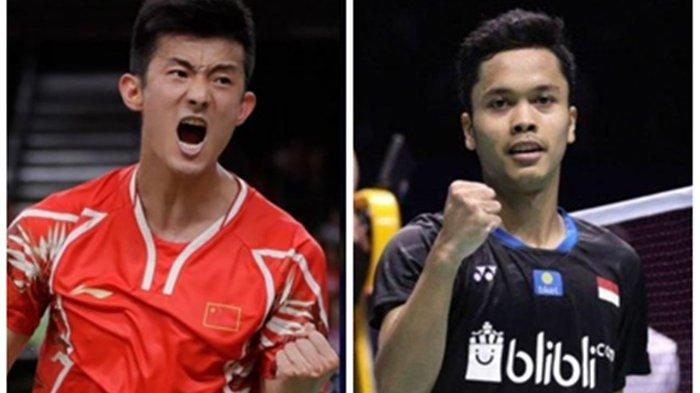 Wakil China Chen Long akan berjumpa wakil Indonesia, Anthony Sinisuka Ginting di semifinal Bulutangkis Olimpiade Tokyo 2020.