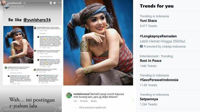 Postingan viral dan trending topic di Twitter tentang Yuni Shara. (Kolase TribunKaltara.com / Instagram/@yunishara36)