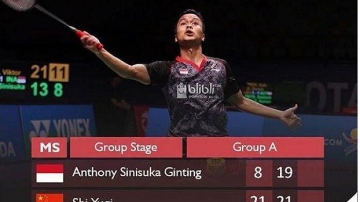 Anthony Ginting Keok Lagi Dari Shi Yuqi,  Peluang di Guangzhou BWF World Tour Finals 2018 Tipis