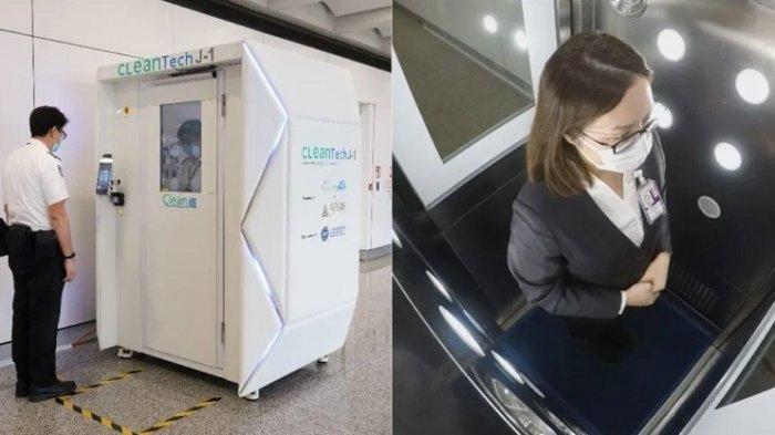40 Detik Bisa Bunuh Virus Corona Bandara Hong Kong Uji Coba Bilik Disinfektan Terbaru