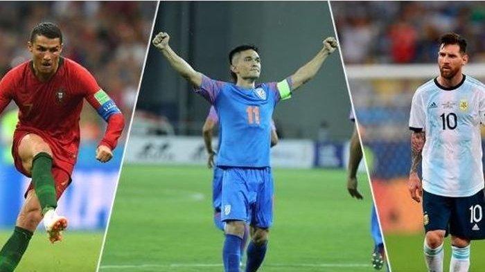 Sunil Chhetri dari India Salip Lionel Messi Jadi Pencetak Gol Terbanyak di Laga Internasional