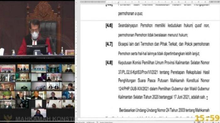 Mahkamah Konstitusi Perintahkan KPU Segera Tetapkan Sahbirin Noor sebagai Gubernur Kalsel