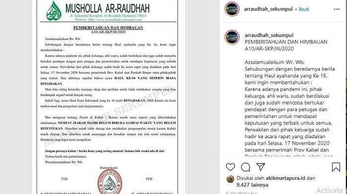 Pastikan Edaran dari Musala Ar Raudhah,  Keluarga Benarkan Haul ke-16 Guru Sekumpul Ditiadakan