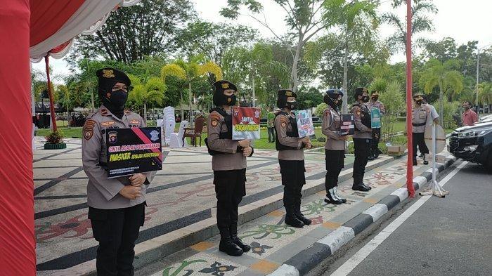 Unit Dikyasa Satlantas Polresta Palangkaraya Sosialisasi Prokes di Pasar Kahayan Palangkaraya