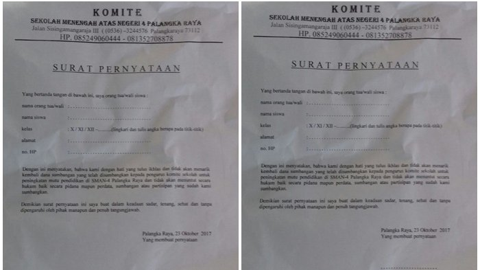 Orangtua Siswa Kaget, Tiba-tiba Disodori Surat Pernyataan Tidak Menarik Sumbangan Sekolah