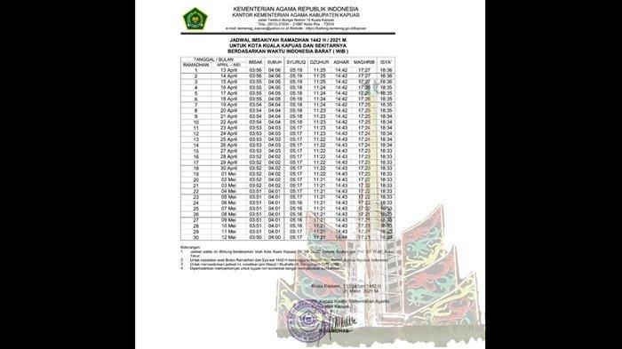 JADWAL IMSAKIYAH dan Waktu Buka Puasa Ramadan 1442 H untuk Kota Kualakapuas dan Sekitar
