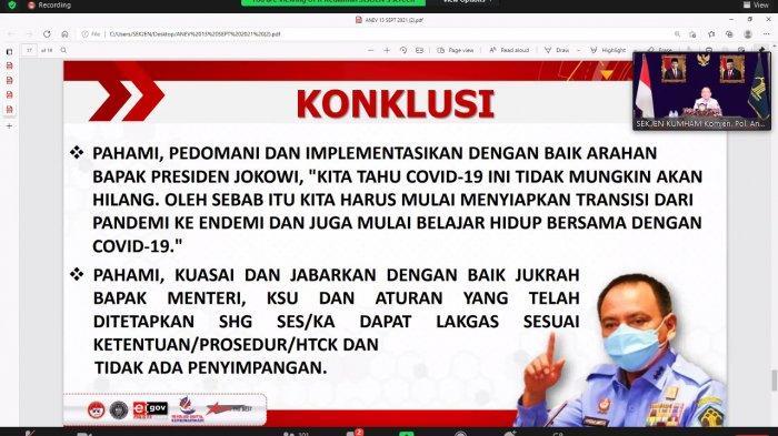 Jajaran Kanwil Kumham Kalteng Ikuti Undangan Terkait Arahan dari Sekjen Kemenkumham RI