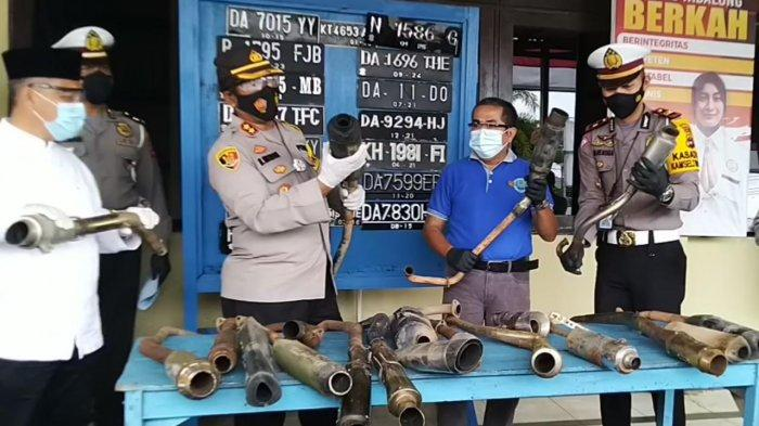 Puluhan Knalpot Brong Sitaan Satlantas Polres Tabalong Dimusnahkan