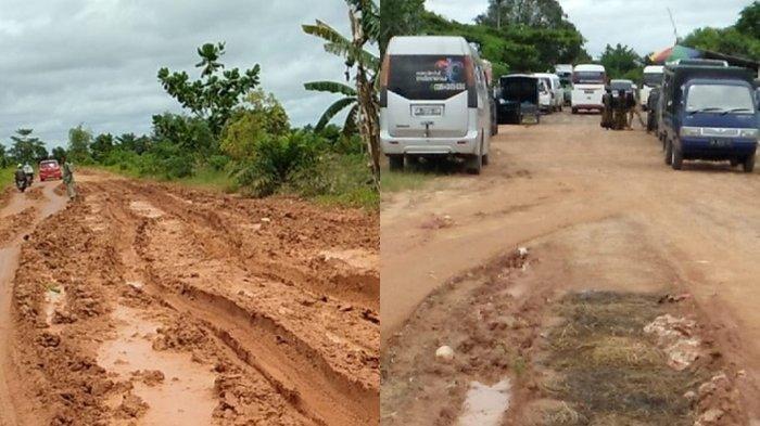 Akses Menuju Makam Datu Qabul di Desa Baulin Tapin Kalsel Berlumpur
