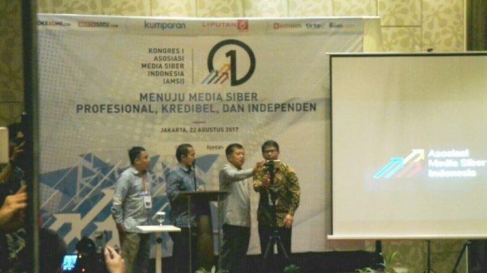 Wapres Jusuf Kalla Buka Kongres Para Pimpinan Media Online yang Tergabung Dalam AMSI