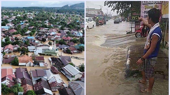 Kota Pelaihari Terendam, Diguyur Hujan Deras Sejak Jumat