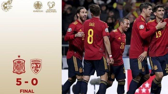 Spanyol Menang Lagi 5 Gol Kontra Rumania Hingga Kokoh di Puncak Kualifikasi Euro 2020 dan ke Final