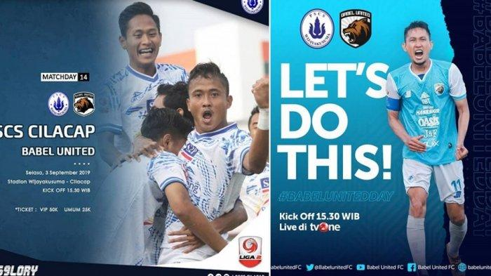 Live Streaming TVOne - Siaran Langsung PSCS Cilacap vs Babel United Liga 2 2019 Hari Ini Live TV One