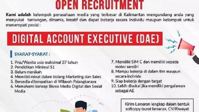 Lowongan Kerja Digital Account Executive di Tribunkalteng.com, Segera Kirim Lamaran