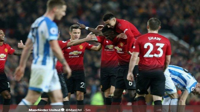 Hasil Liga Inggris - Manchester United Vs Huddersfield Town, Paul Pogba Sumbang 2 Gol