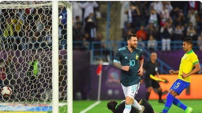Gol Penalti Lionel Messi Menangkan Argentina Kontra Barsil di Laga Persahabatan