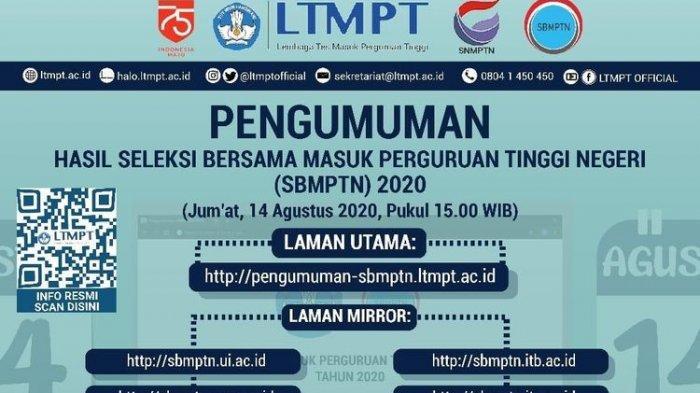 JADWAL Pengumuman Hasil SBMPTN 2020 Mulai 14 Agustus 2020, Cek 12 Laman Mirror Ini